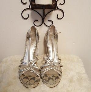 COACH- Silver Joslin Cork Sandal Wedges